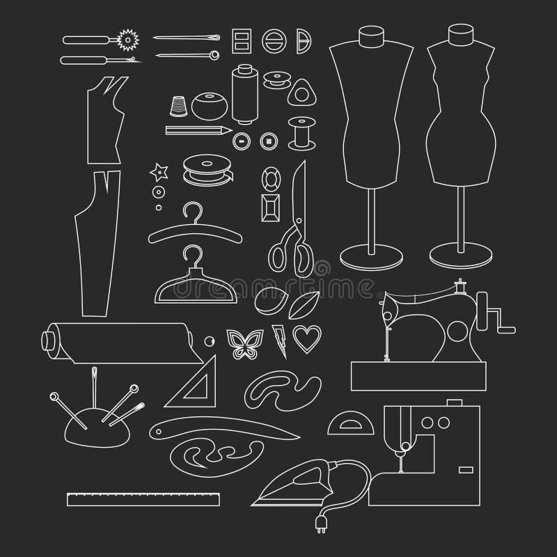 Equipo de taller de costura Elementos del diseño de la tienda del sastre del esquema La modistería de la industria de la adaptaci libre illustration