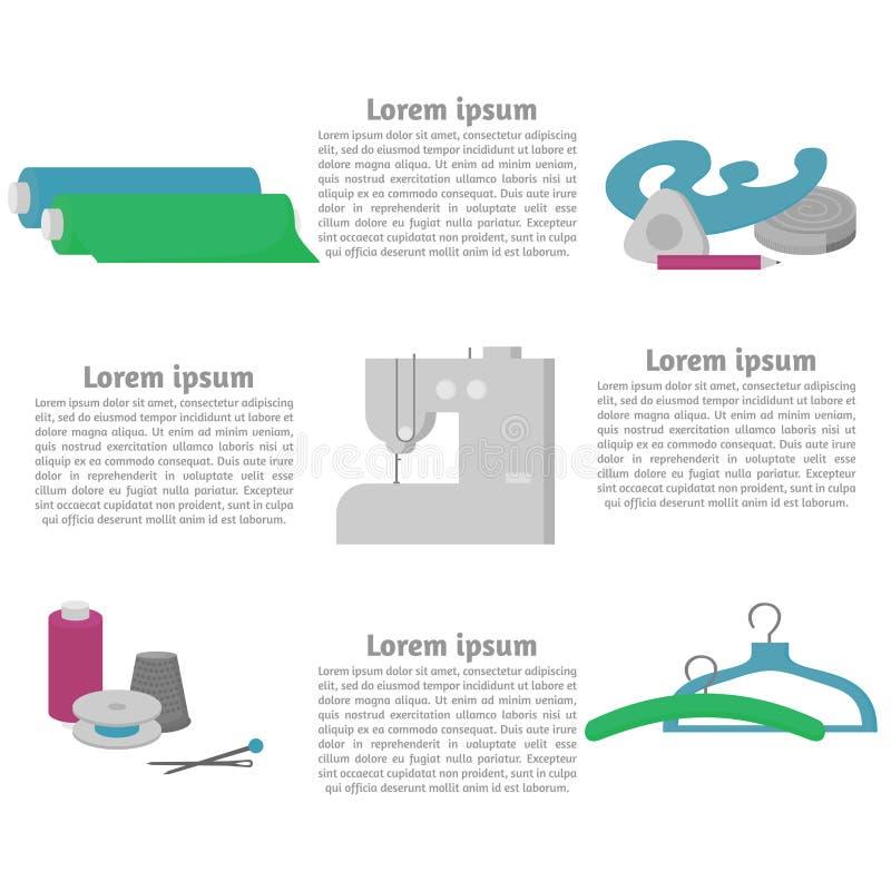 Equipo de taller de costura Elementos planos del diseño de la tienda del sastre La modistería de la industria de la adaptación eq libre illustration