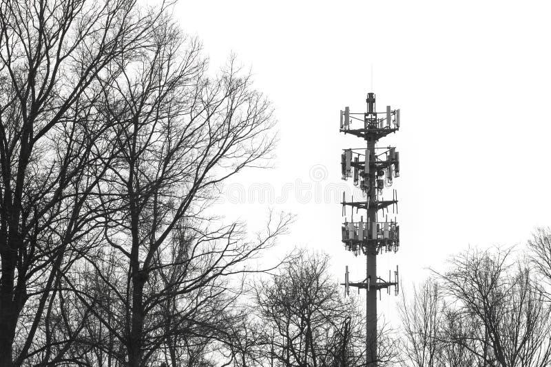 Equipo de telecomunicación amonestador del alto contraste de la torre de las radiocomunicaciones de la sirena foto de archivo