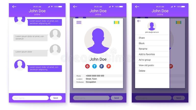 Equipo de UI del app móvil La página de la pantalla de menú del perfil y de la barra lateral, amigos enumera con charla Diseño de stock de ilustración