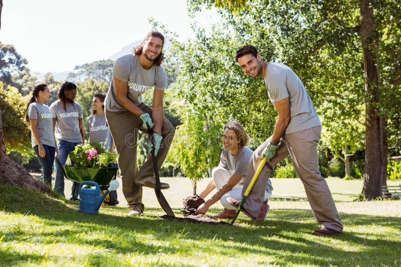 Equipo de voluntarios que cultivan un huerto junto fotos de archivo libres de regalías