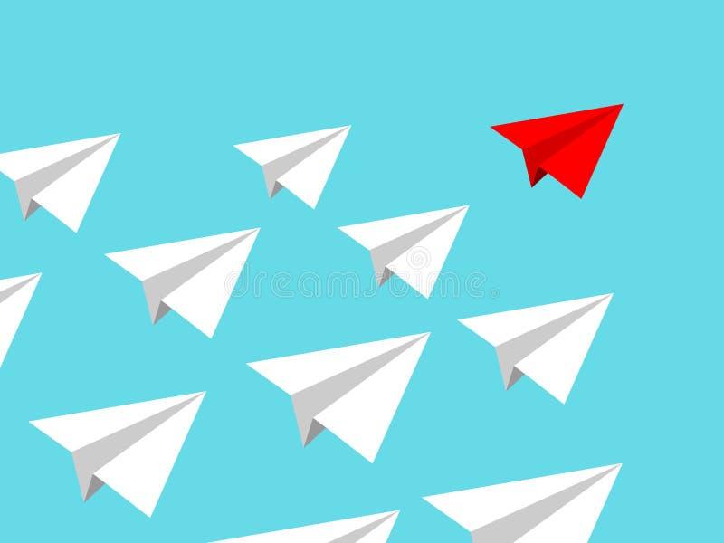 Equipo del aeroplano de papel con el cielo claro azul aislado misión que conduce del líder rojo Concepto de Teamworking ilustración del vector