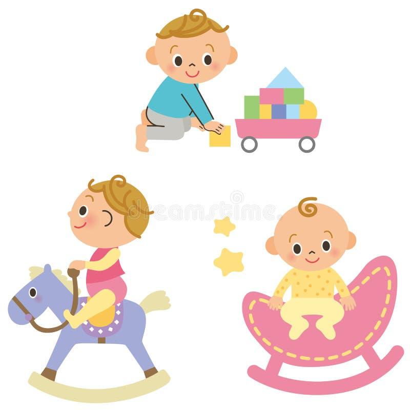 Equipo del bebé y del patio stock de ilustración