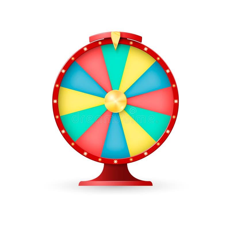 Equipo del casino, rueda de la fortuna Ganador lacky del bote Ilustración del vector en el fondo blanco ilustración del vector