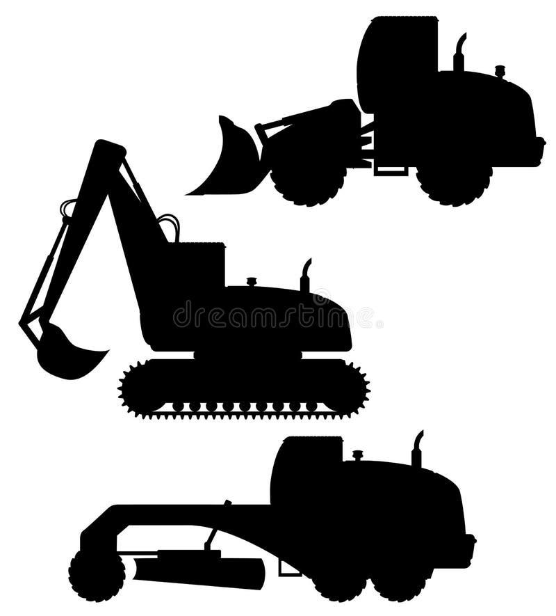 Equipo del coche para el illustratio negro del vector de la silueta de las obras viales stock de ilustración