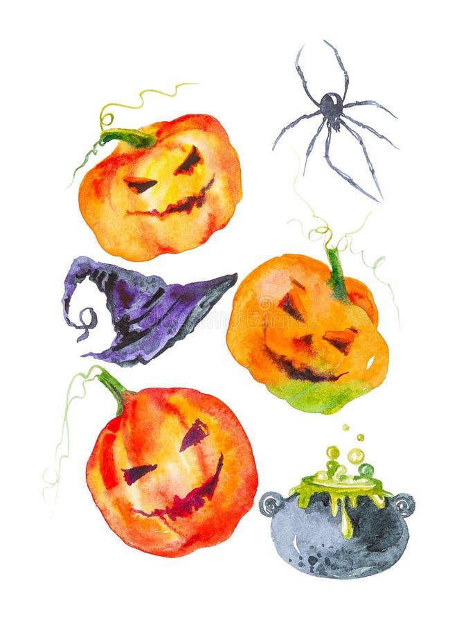 Equipo del día de fiesta para Halloween, la calabaza, el sombrero del mago, una araña y las botellas de poción Ejemplo de la acua libre illustration