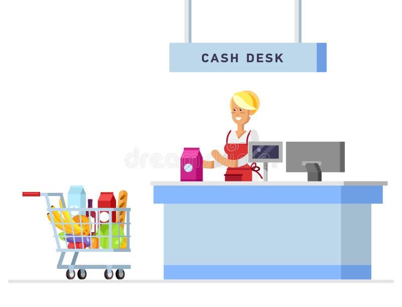 Equipo del escritorio del contador de la tienda del supermercado libre illustration