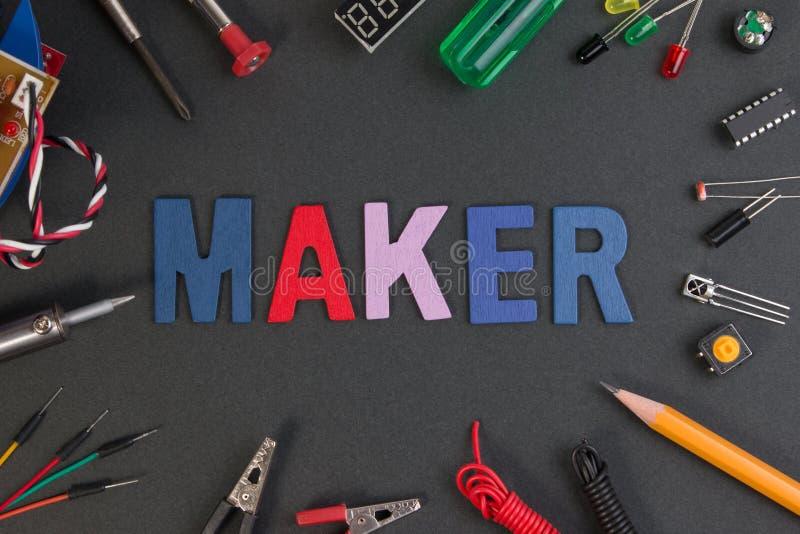 Equipo del fabricante de la partícula, equipo del fabricante del proyecto de la electrónica imagen de archivo