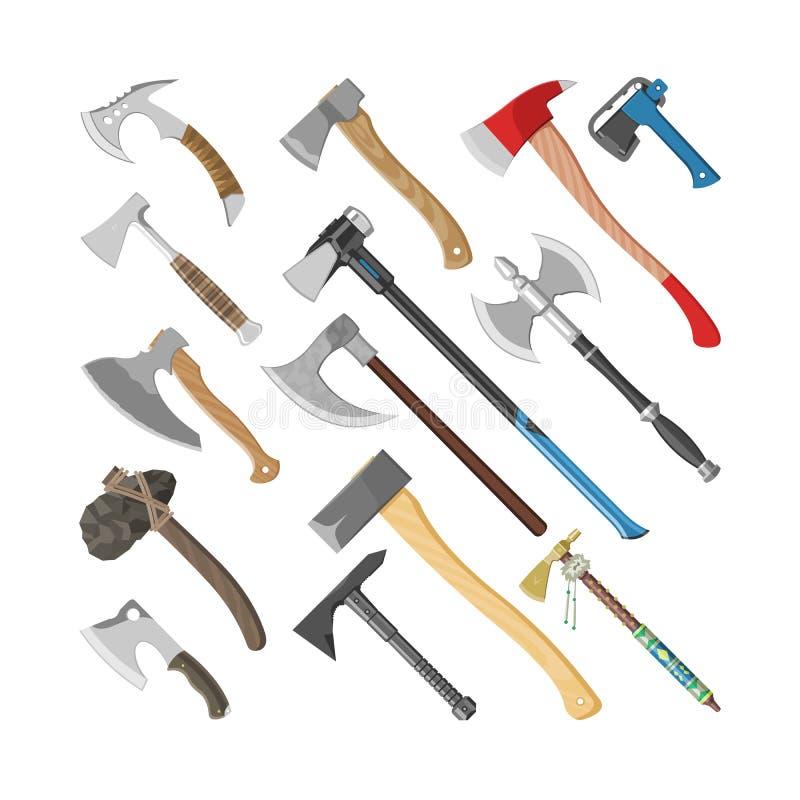 Equipo del hacha del metal del vector del hacha con el sistema de madera del ejemplo de la manija del destral con la cuchilla agu stock de ilustración