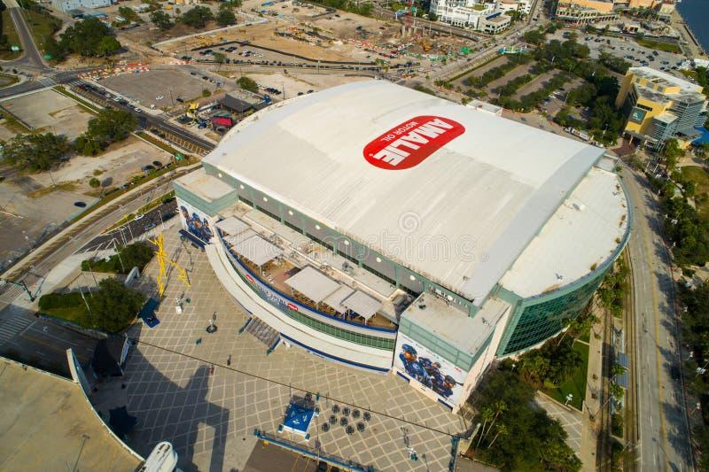 Equipo del hocket de Amalie Oil Arena Tampa Lightning foto de archivo libre de regalías