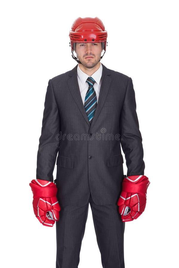 Equipo del hockey del hombre de negocios que desgasta competitivo foto de archivo libre de regalías