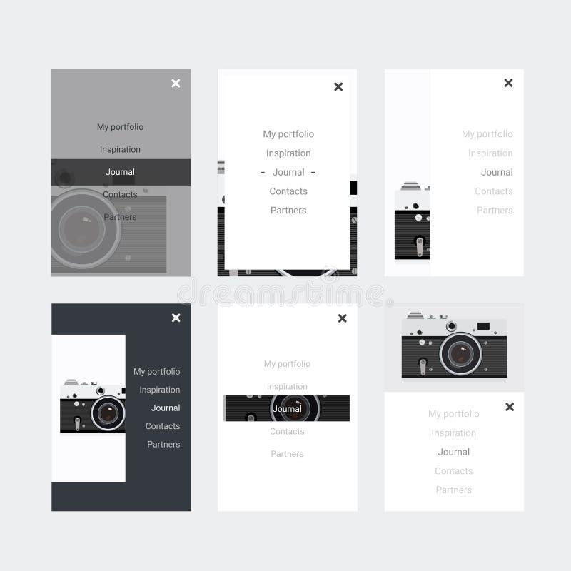Equipo del inconformista UI de Minimalistic para diseñar sitios web responsivos, apps móviles y la interfaz de usuario Cámara vie stock de ilustración