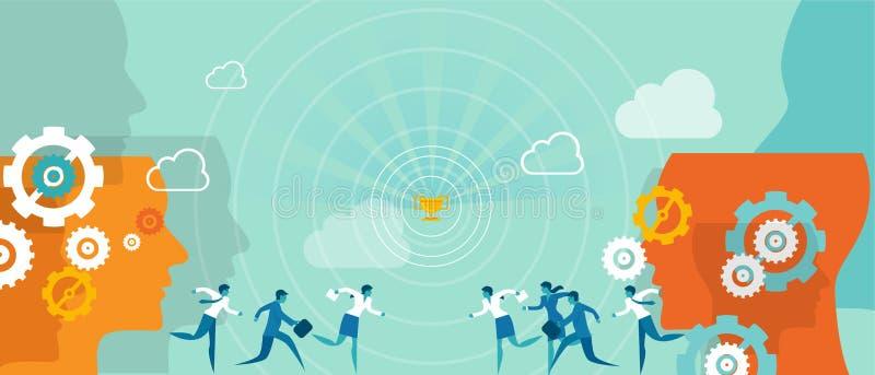 Equipo del márketing de la dirección de la dirección del negocio de la competencia de la recompensa ilustración del vector