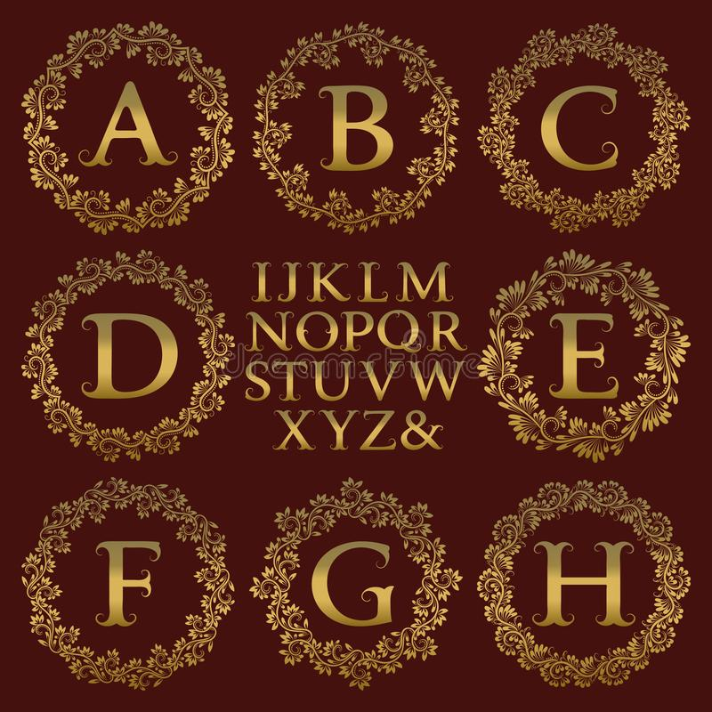 Equipo del monograma del vintage Letras de oro y marcos redondos florales para crear el logotipo inicial en estilo antiguo ilustración del vector