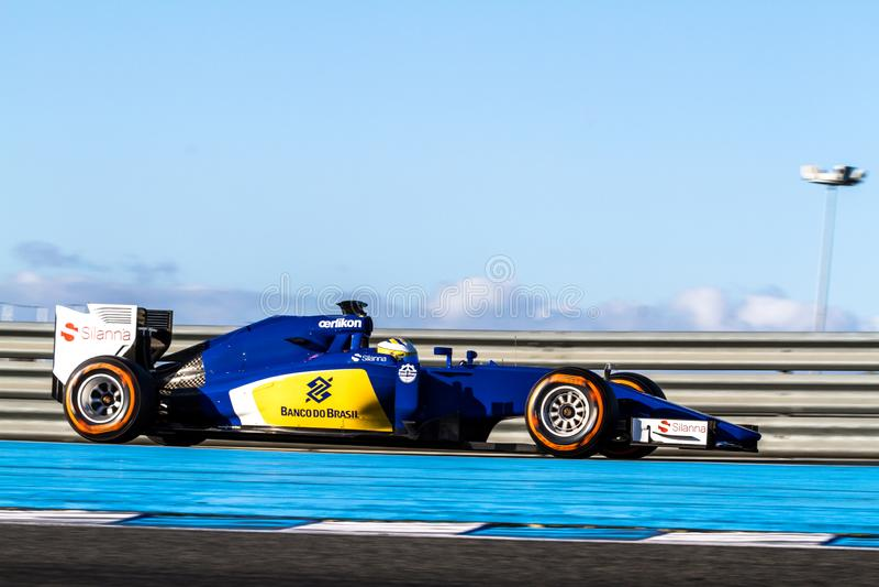 Equipo del MotorSport F1 de Sauber, Marcus Ericsson, 2015 fotos de archivo libres de regalías