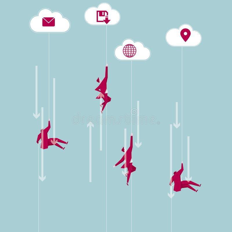 Equipo del negocio aerotransportado de las nubes libre illustration