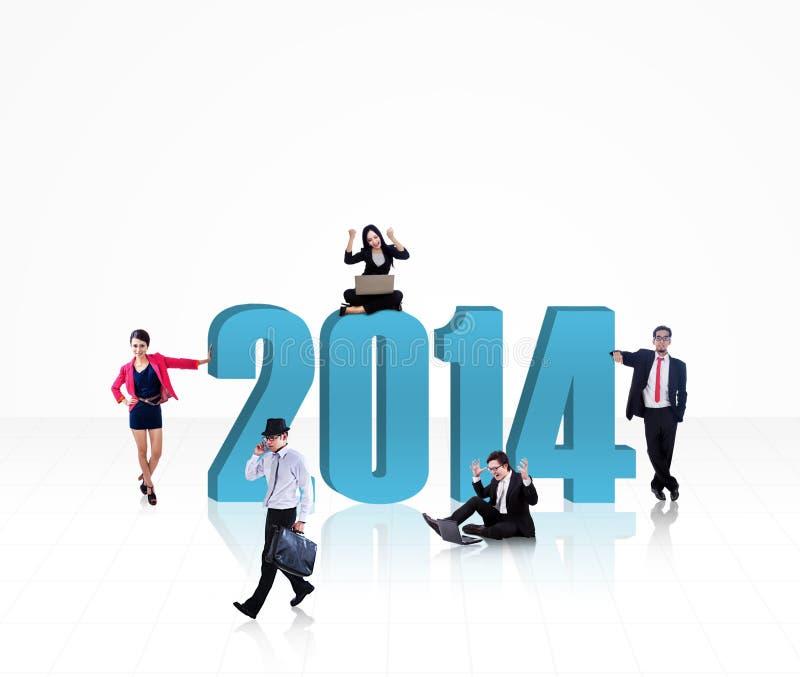 Equipo del negocio con el Año Nuevo 2014 - aislado ilustración del vector
