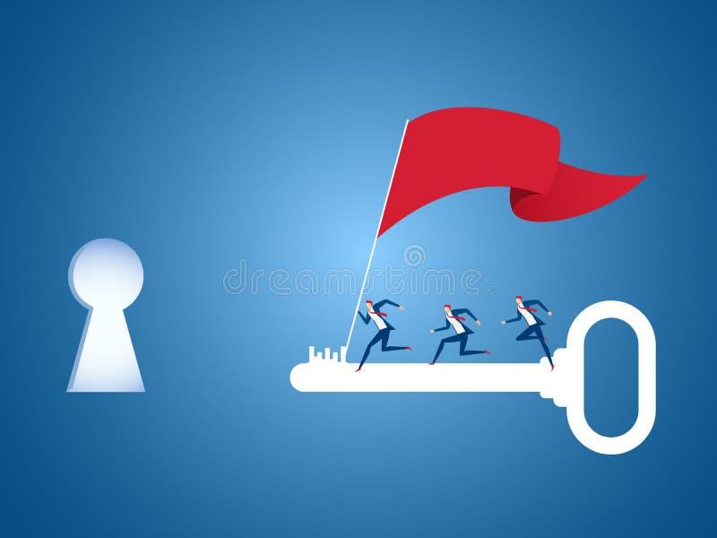 Equipo del negocio con la bandera que corre en llave grande para apuntar y punto del éxito Clave al concepto del éxito stock de ilustración
