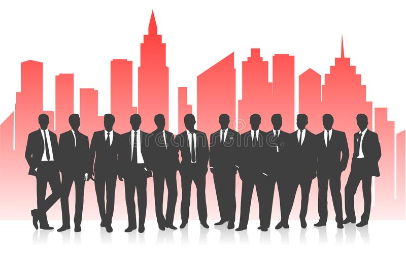 Equipo del negocio contra la perspectiva de una silueta brillante de la ciudad stock de ilustración