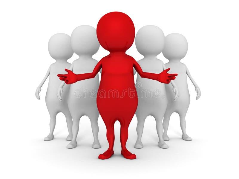 equipo del negocio 3d con el hombre rojo del líder trabajo en equipo del éxito imagen de archivo