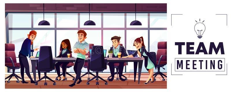 Equipo del negocio de la compañía que trabaja en vector de la oficina libre illustration