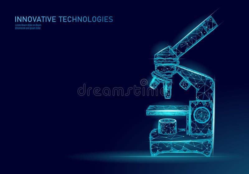 Equipo del negocio de la medicina de la ciencia del microscopio El punto que brillaba intensamente azul del triángulo poligonal p libre illustration