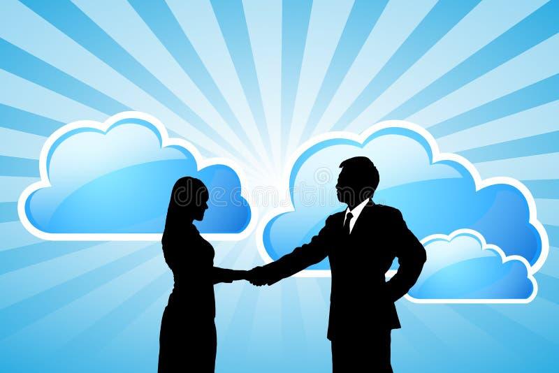 Equipo del negocio del éxito con tecnología de ordenadores de la nube ilustración del vector