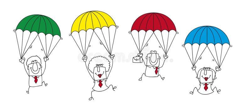 Equipo del negocio del paracaidista stock de ilustración