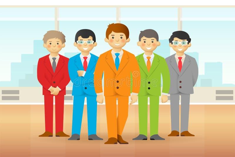 Equipo del negocio en la oficina, hombres frescos de la historieta en trajes Vector ilustración del vector