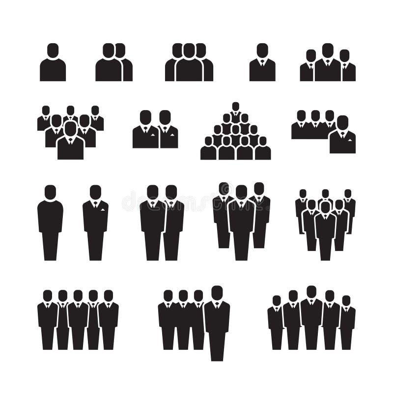Equipo del negocio, gente de la silueta, empleado, grupo, iconos del vector de la muchedumbre fijados ilustración del vector