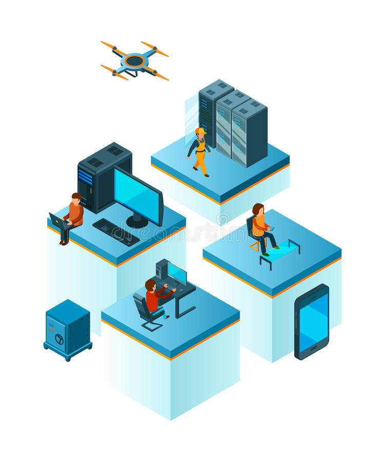 Equipo del negocio isométrico Encargados de la gente de Coworking que trabajan en el vector de la formación de equipo del servici stock de ilustración
