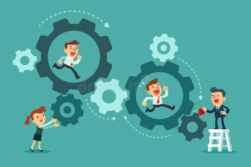 Equipo del negocio que corre en el sistema del mecanismo de engranajes stock de ilustración