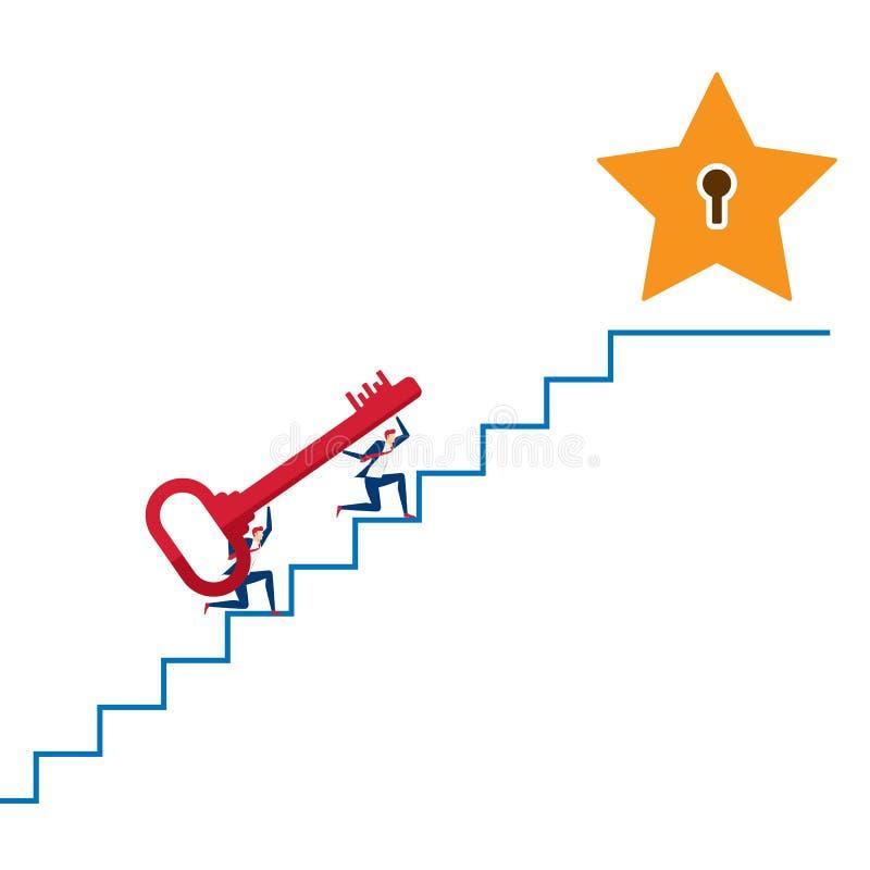 Equipo del negocio que lleva la llave en la escalera para apuntar y el punto del éxito Paso de las escaleras al éxito libre illustration