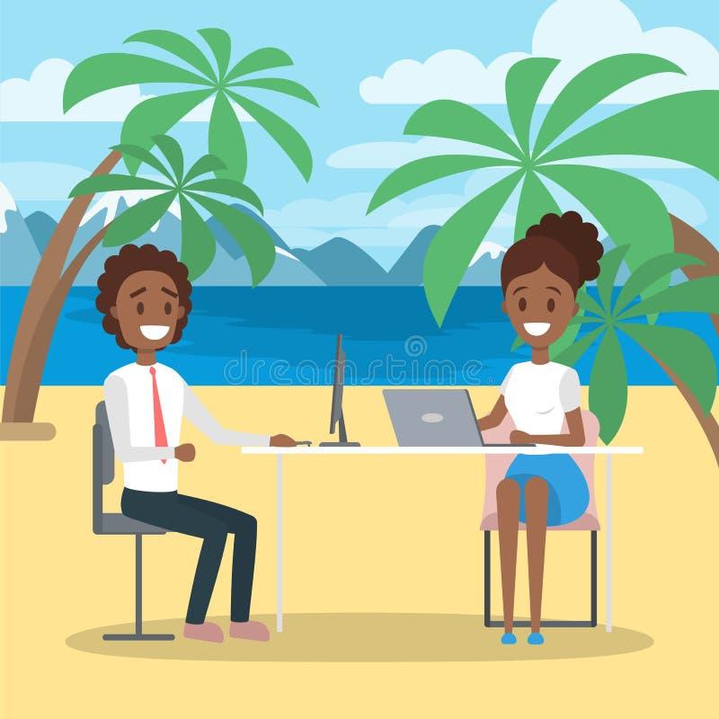 Equipo del negocio que trabaja en la playa ilustración del vector