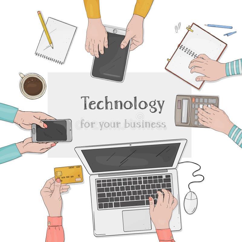 Equipo del negocio que trabaja junto en el escritorio de oficina Mesa con las manos, el ordenador portátil, el smartphone, los do ilustración del vector