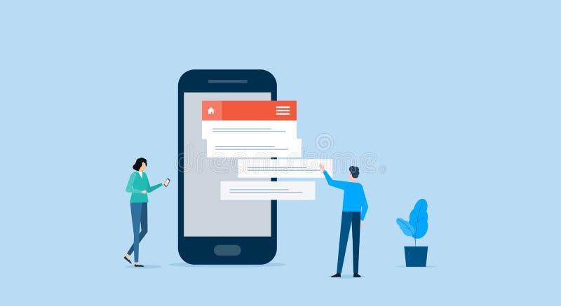 Equipo del negocio que trabaja para el desarrollo de aplicación móvil libre illustration