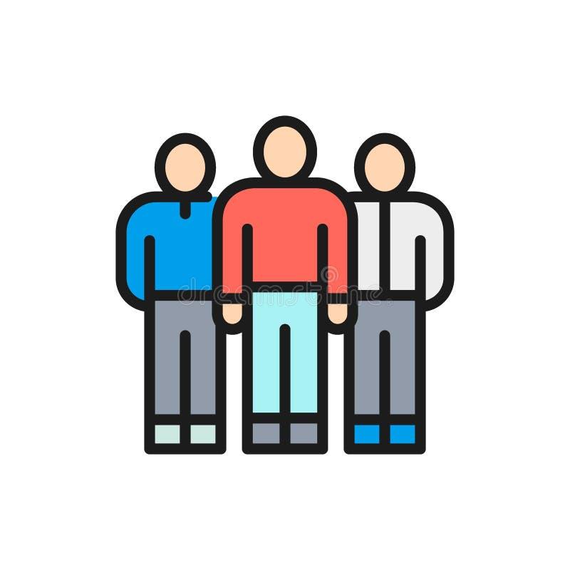 Equipo del negocio del vector, grupo de la gente, línea de color plana de los trabajadores de la compañía icono stock de ilustración