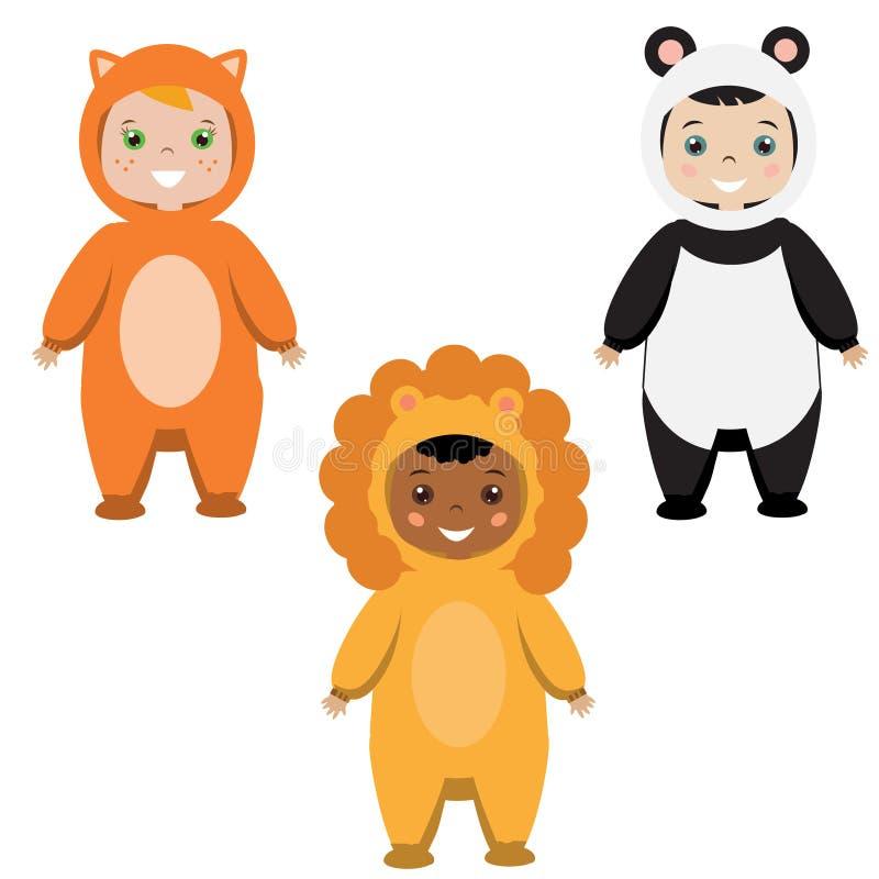 Equipo del partido de los niños Niños en los trajes animales del carnaval stock de ilustración