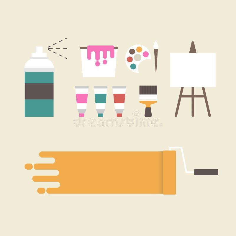 Equipo del pintor ilustración del vector