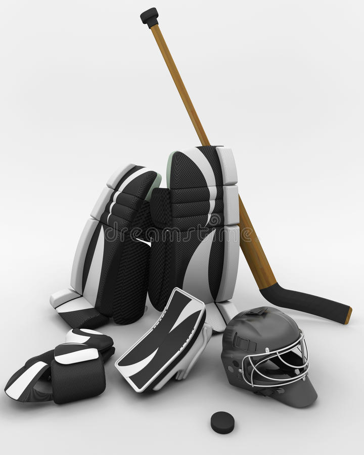 Equipo del portero del hockey sobre hielo stock de ilustración