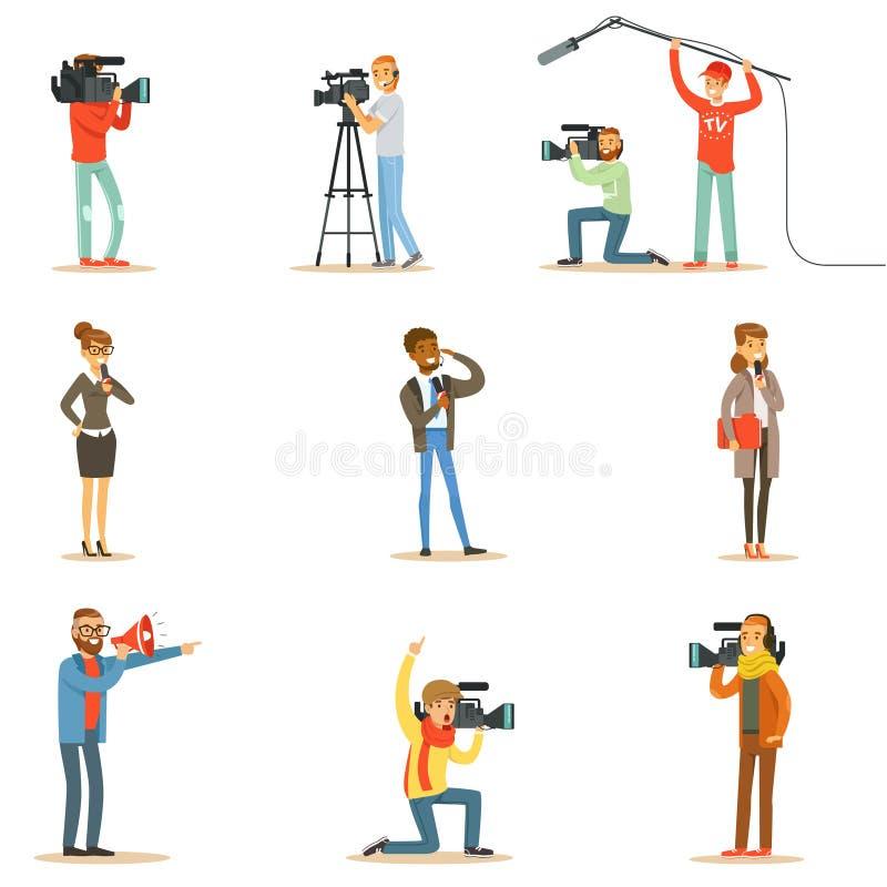 Equipo del programa de noticias de cameramanes profesionales y de periodistas que crean la difusión de TV de Live Television Coll ilustración del vector