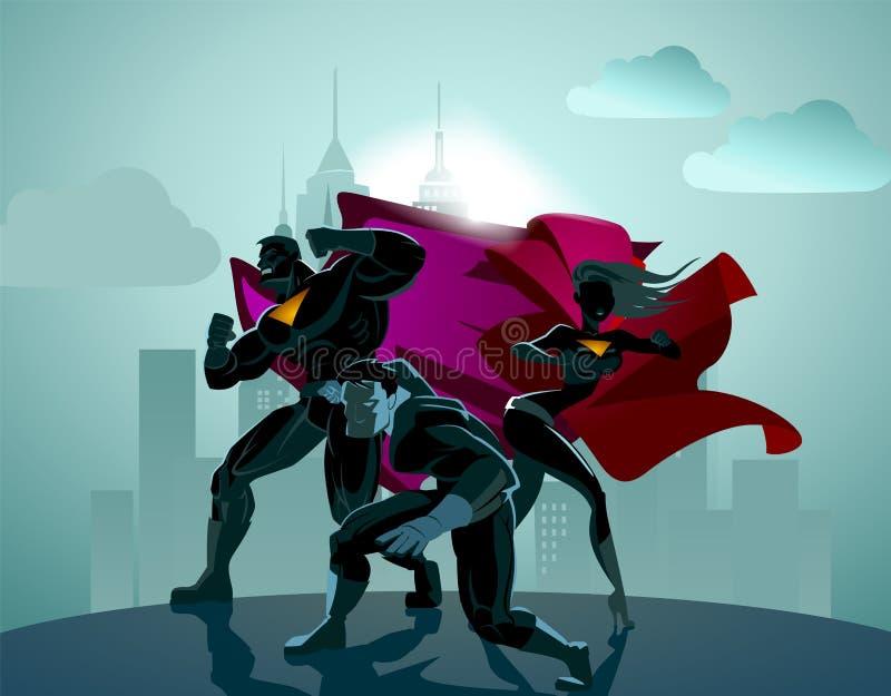 Equipo del super héroe; Equipo de super héroes ilustración del vector