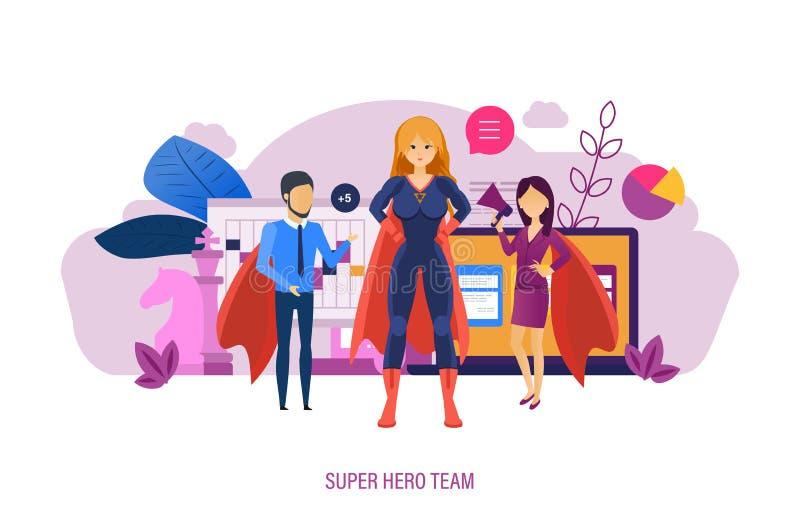 Equipo del superhéroe Dirección de la colaboración, negocio de la extensión, líderes empresariales del equipo stock de ilustración