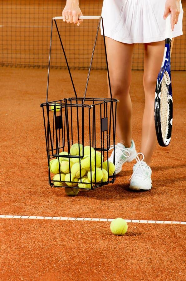 Equipo del tenis del entrenamiento imágenes de archivo libres de regalías