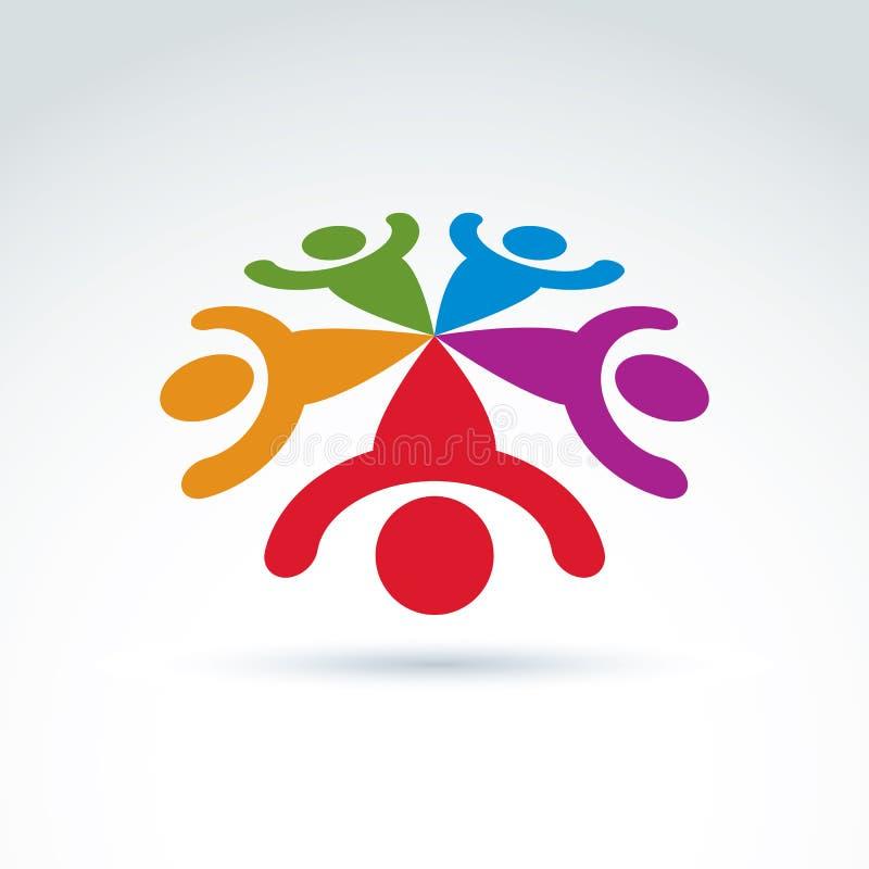 Equipo del trabajo en equipo y del negocio e icono de la amistad stock de ilustración