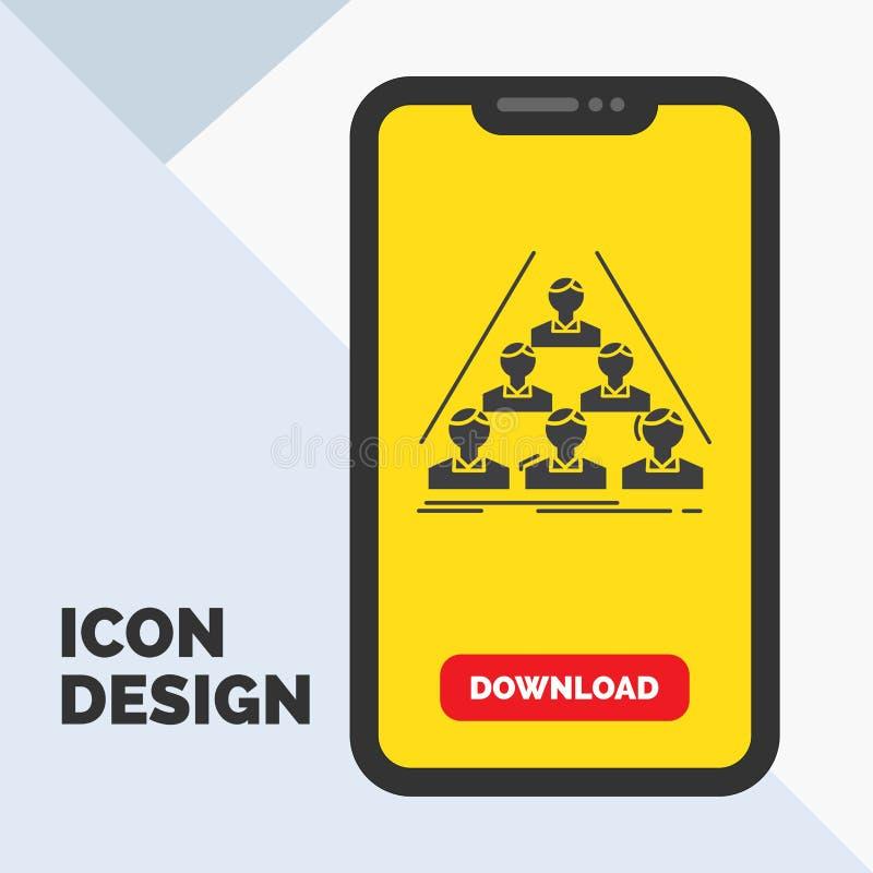 equipo, estructura, estructura, negocio, haciendo frente al icono del Glyph en el móvil para la página de la transferencia direct stock de ilustración