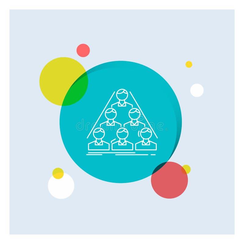 equipo, estructura, estructura, negocio, línea blanca fondo colorido de la reunión del círculo del icono libre illustration