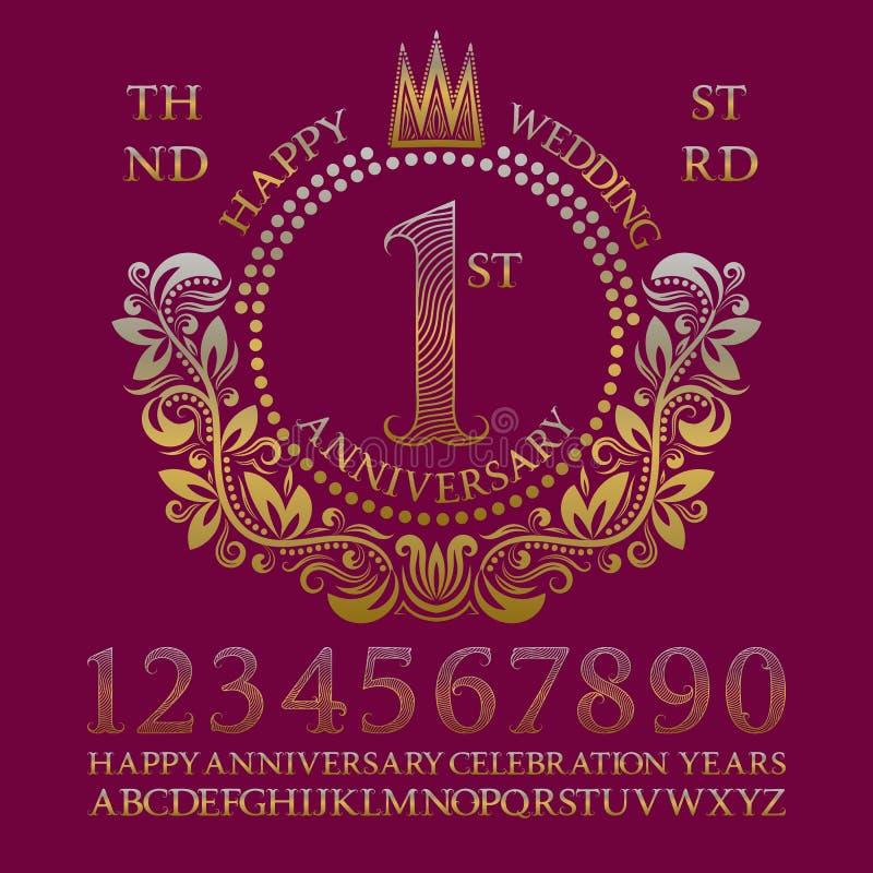 Equipo feliz de la muestra del aniversario de boda Números de oro, alfabeto, marco y algunas palabras para crear emblemas de la c ilustración del vector