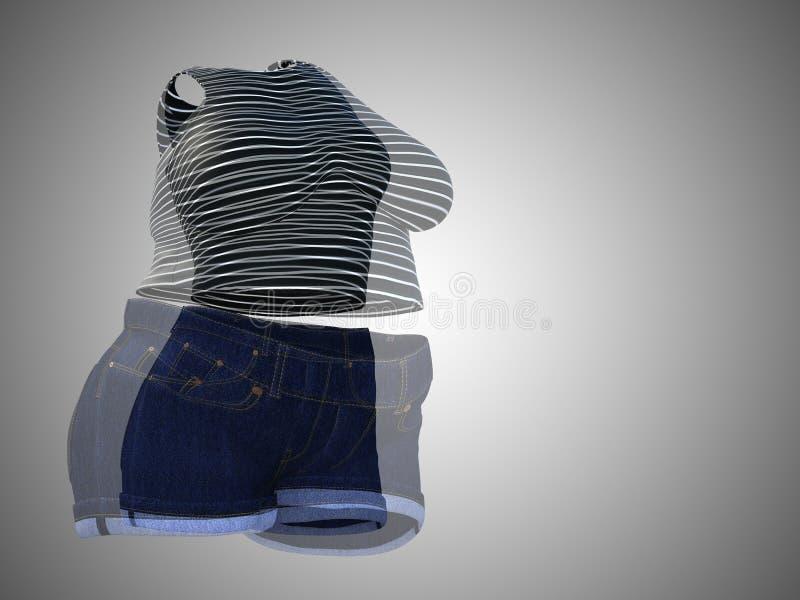 Equipo femenino gordo de la ropa contra cuerpo sano del ajustado fotos de archivo