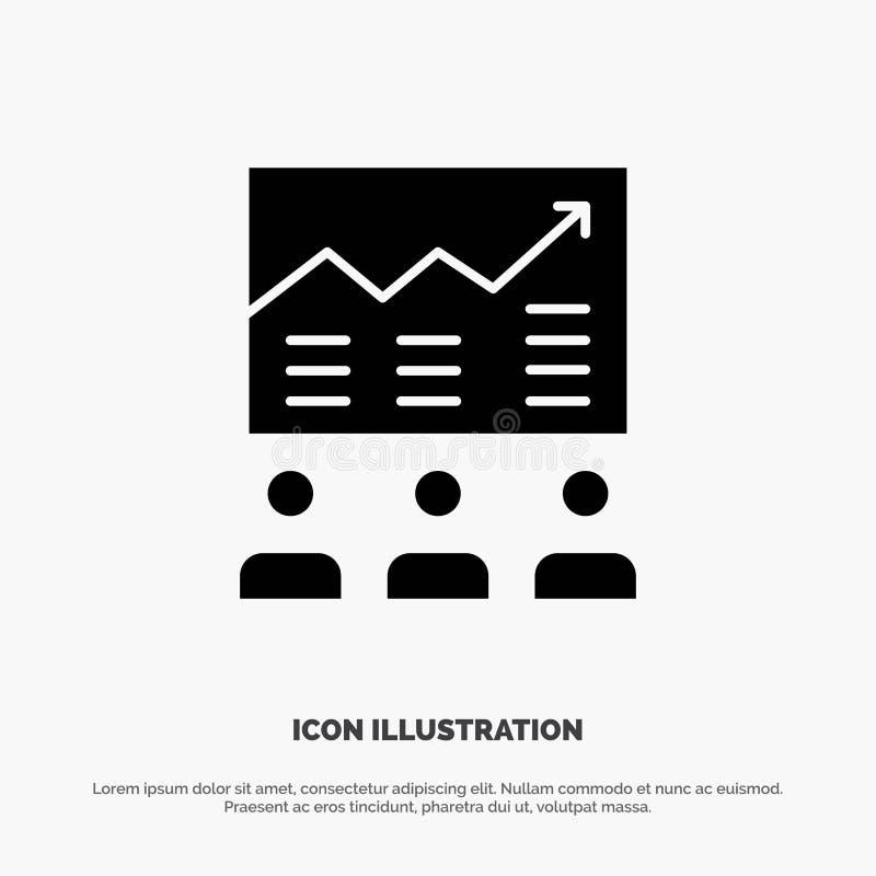 Equipo, flecha, negocio, carta, esfuerzos, gráfico, vector sólido del icono del Glyph del éxito libre illustration